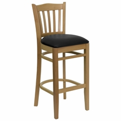 HERCULES Vertical Slat Back Natural Wood Bar Stool with Black Vinyl Seat - XU-DGW0008BARVRT-NAT-BLKV-GG