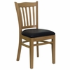 HERCULES Vertical Slat Back Natural Wood Chair with Black Vinyl Seat - XU-DGW0008VRT-NAT-BLKV-GG