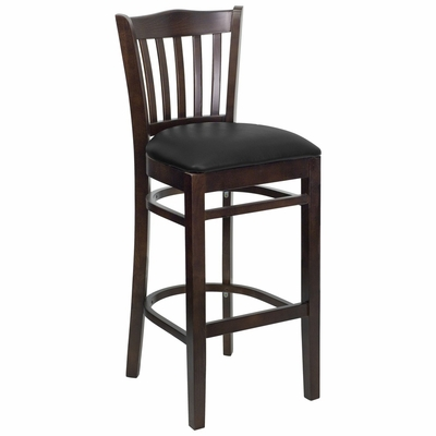 HERCULES Vertical Slat Back Walnut Wood Bar Stool with Black Vinyl Seat - XU-DGW0008BARVRT-WAL-BLKV-GG
