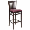 HERCULES Vertical Slat Back Walnut Wood Bar Stool with Burgundy Vinyl Seat - XU-DGW0008BARVRT-WAL-BURV-GG