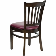 HERCULES Vertical Slat Back Walnut Wood Chair with Burgundy Vinyl Seat - XU-DGW0008VRT-WAL-BURV-GG
