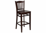HERCULES Vertical Slat Back Wood Bar Stool with Mahogany Finish - XU-DGW0008BARVRT-MAH-GG