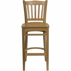 HERCULES Vertical Slat Back Wood Bar Stool with Natural Finish - XU-DGW0008BARVRT-NAT-GG