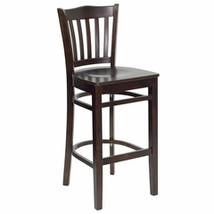 HERCULES Vertical Slat Back Wood Bar Stool with Walnut Finish - XU-DGW0008BARVRT-WAL-GG