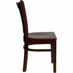 HERCULES Vertical Slat Back Wood Chair with Mahogany Finish - XU-DGW0008VRT-MAH-GG