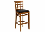 HERCULES Window Back Wood Restaurant Bar Stool - Black Vinyl Seat, Cherry Finish - XU-DGW0007BARWIN-CHY-BLKV-GG