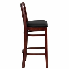HERCULES Window Back Wood Restaurant Bar Stool - Black Vinyl Seat, Mahogany Finish - XU-DGW0007BARWIN-MAH-BLKV-GG