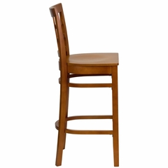 HERCULES Window Back Wood Restaurant Bar Stool - Cherry Finish - XU-DGW0007BARWIN-CHY-GG