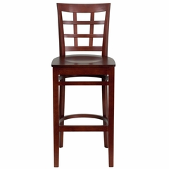 HERCULES Window Back Wood Restaurant Bar Stool - Mahogany Finish - XU-DGW0007BARWIN-MAH-GG