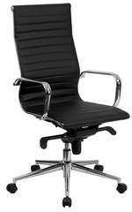 High Back Black Ribbed Upholstered Leather Executive Office Chair  - BT-9826H-BK-GG