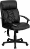 High Back Massaging Black Leather Executive Office Chair with Integrated Headrest - BT-9578P-GG