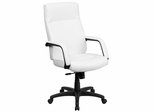 High Back White Leather Executive Office Chair - BT-90033H-WH-GG