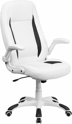High Back White Leather Executive Office Chair- CH-CX0176H06-WH-GG