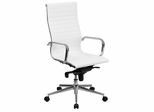 High Back White Ribbed Upholstered Leather Executive Office Chair  - BT-9826H-WH-GG