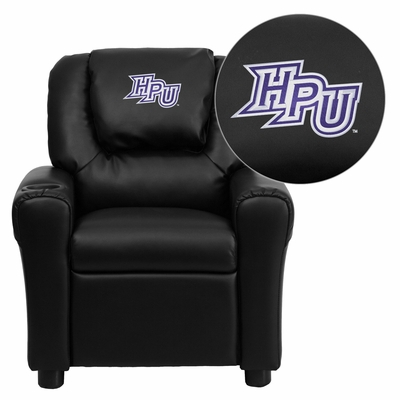 High Point University Panthers Black Vinyl Kids Recliner - DG-ULT-KID-BK-45011-EMB-GG