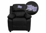 High Point University Panthers Leather Kids Recliner - BT-7985-KID-BK-LEA-45011-EMB-GG