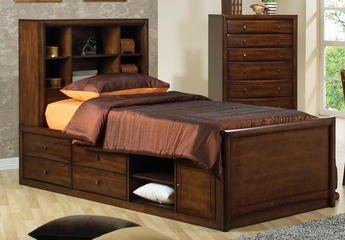 Hillary and Scottsdale Warm Brown Bookcase Bed - 400280T