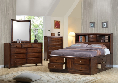 Hillary California King Size Bedroom Furniture Set in Warm Brown - Coaster - 200609KW-BSET