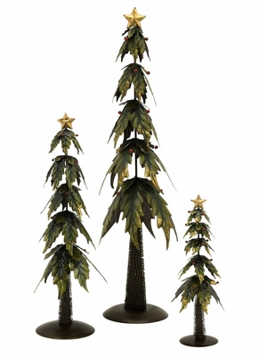 Holly Leaf Trees (Set of 3) - IMAX - 59646-3