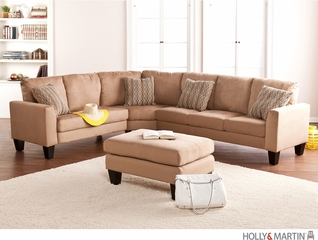 SEI Carlton 4pc Sectional - Sofa / Love / Wedge / Otto - Mocha