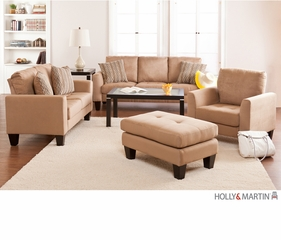 SEI Carlton Sofa / Loveseat / Chair / Ottoman 4pc Set - Mocha