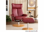 Holly & Martin Bennett Leather Recliner and Ottoman - Brick Red