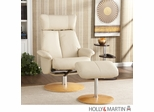 Holly & Martin Bennett Leather Recliner and Ottoman - French Vanilla