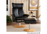 Holly & Martin Bennett Leather Recliner and Ottoman - Shimmer Black