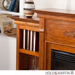 Holly & Martin Fredricksburg Electric Fireplace with Bookcases - Glazed Pine