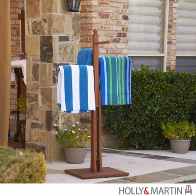 SEI Hardwood Towel Rack - Oiled Finish
