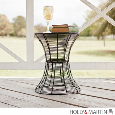 SEI Indoor/Outdoor Round Metal Accent Table, 18.5 Inch - Black