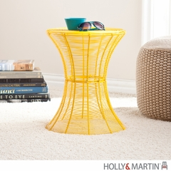 SEI Indoor/Outdoor Round Metal Accent Table, 18.5 Inch - Yellow