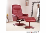 Holly & Martin Naomi Bonded Leather Recliner & Ottoman - Brick
