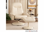 Holly & Martin Naomi Bonded Leather Recliner & Ottoman - French Vanilla