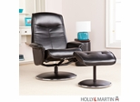 Holly & Martin Naomi Bonded Leather Recliner & Ottoman - Onyx