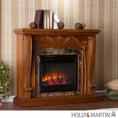 SEI Cardona Electric Fireplace - Walnut