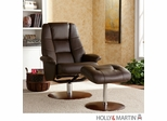 Holly & Martin Torwood Leather Recliner and Ottoman - Brown