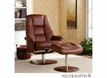 Holly & Martin Torwood Leather Recliner and Ottoman - Cognac