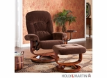 Holly & Martin Tyler Fabric Recliner and Ottoman - Chocolate