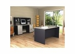 Home Office Furniture Set in Sand Granite and Charcoal - Hampton - Bestar Office Furniture