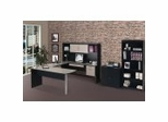 Home Office Furniture Set in Sand Granite and Charcoal - In Space New Generation - Bestar Office Furniture