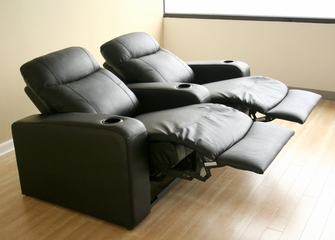 Home Theater Seating - 2 Piece Set in Black - 8326-2SEAT-BLK