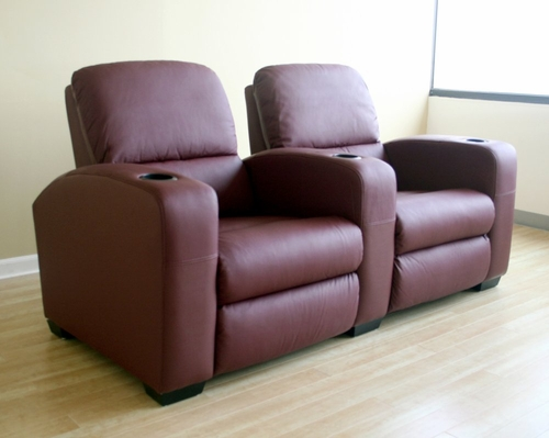 Home Theater Seating - 2 Piece Set in Burgundy - HT638-2SEAT-BUR