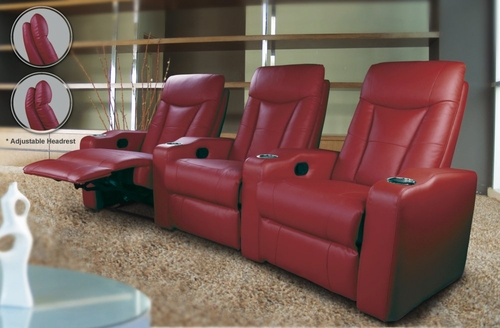 Home Theater Seating - 2 Seater in Red Leather Match - Coaster
