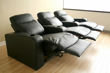 Home Theater Seating - 3 Piece Set in Black - 8326-3SEAT-BLK