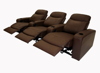 Home Theater Seating - 3 Piece Set in Brown - 8326-3SEAT-BRN
