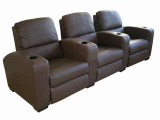 Home Theater Seating - 3 Piece Set in Brown - HT638-3SEAT-BRN