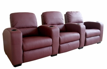 Home Theater Seating - 3 Piece Set in Burgundy - HT638-3SEAT-BUR