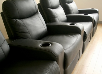 Home Theater Seating - 4 Piece Set in Black - 8326-4SEAT-BLK