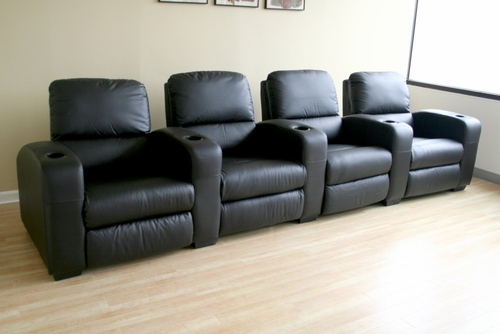 Home Theater Seating - 4 Piece Set in Black - HT638-4SEAT-BLK